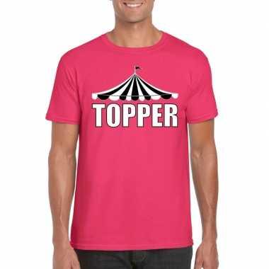 Carnavalskleding toppers t-shirt roze topper witte letters heren helmond