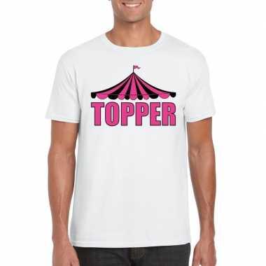 Carnavalskleding toppers t shirt wit topper roze letters heren helmon
