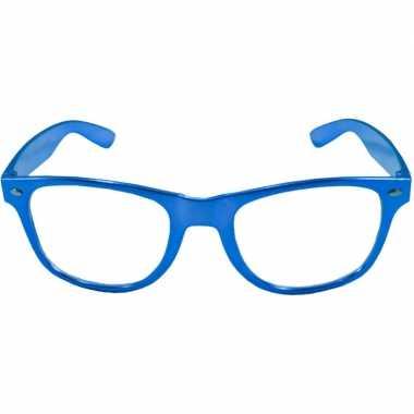 Carnavalskleding toppers verkleed bril metallic blauw helmond