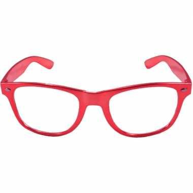 Carnavalskleding toppers verkleed bril metallic rood helmond