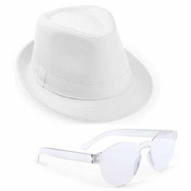 Carnavalskleding toppers wit trilby party hoedje transparante zonnebr