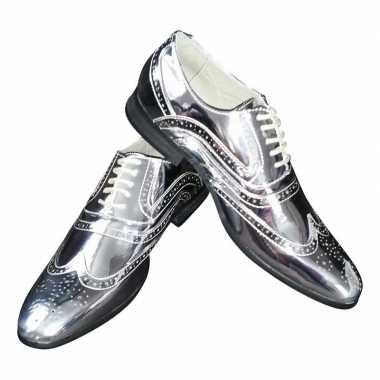 Carnavalskleding toppers zilveren glimmende brogues/disco schoenen he