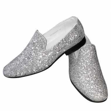 Carnavalskleding toppers zilveren glitter pailletten disco instap sch