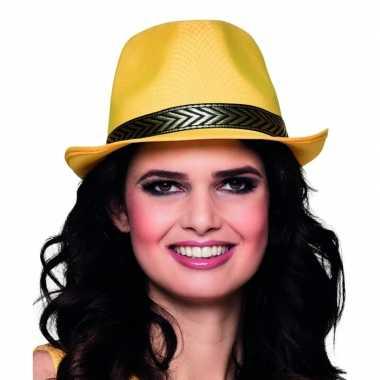 Carnavalskleding trilby hoed geel volwassenen helmond