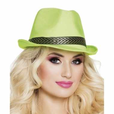 Carnavalskleding trilby hoed lime groen volwassenen helmond