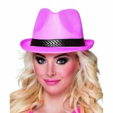 Carnavalskleding trilby hoed roze volwassenen helmond