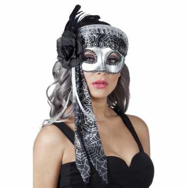 Carnavalskleding venetiaanse oogmasker glitter zwart/zilver helmond