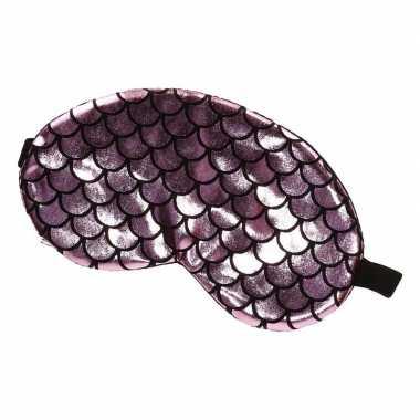 Carnavalskleding verduisterend slaapmasker/oogmasker roze/zwarte schu