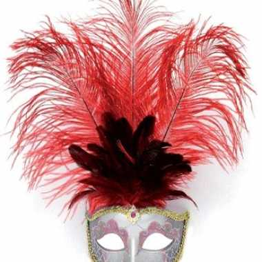 Carnavalskleding veren oog masker rood helmond