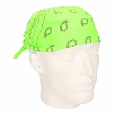 Carnavalskleding verkleed bandana neon groen helmond