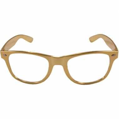 Carnavalskleding verkleed bril metallic goud helmond