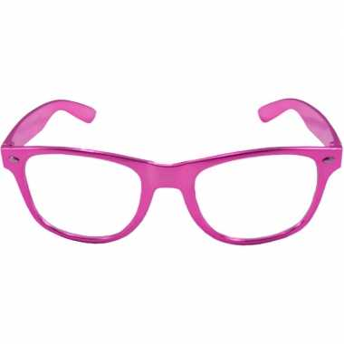 Carnavalskleding verkleed bril metallic roze helmond