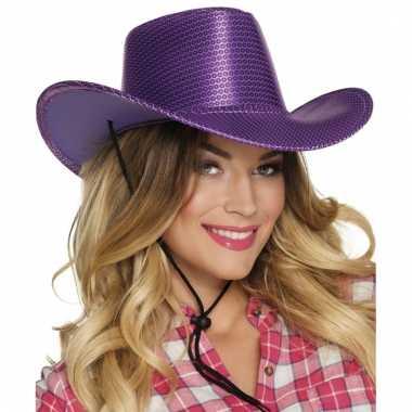 Carnavalskleding verkleed grote cowboyhoeden paars pailletten helmond