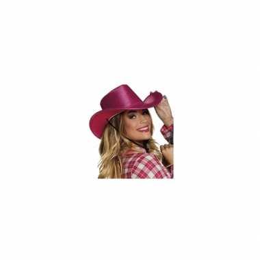 Carnavalskleding verkleed grote cowboyhoeden roze pailletten helmond