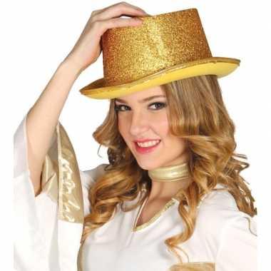 Carnavalskleding verkleed hoge hoed gouden glitters helmond