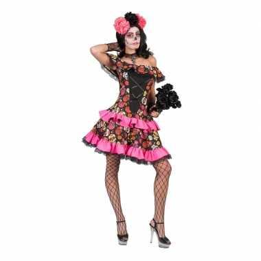 Carnavalskleding verkleed jurk schedels dames helmond