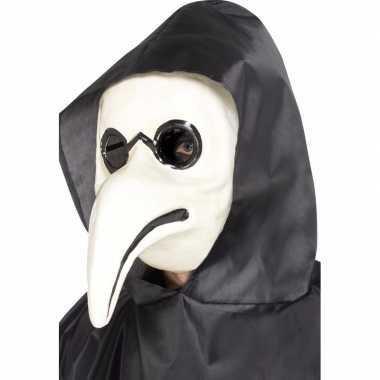 Carnavalskleding verkleed masker pest dokter wit volwassenen helmond