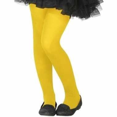 Carnavalskleding verkleed panty fluor geel kinderen helmond