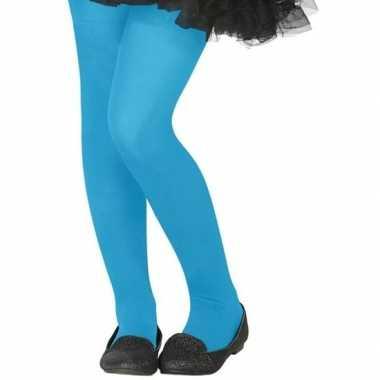 Carnavalskleding verkleed panty neon blauw kinderen helmond