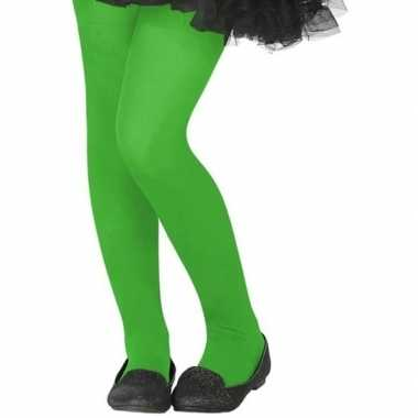 Carnavalskleding verkleed panty neon groen kinderen helmond