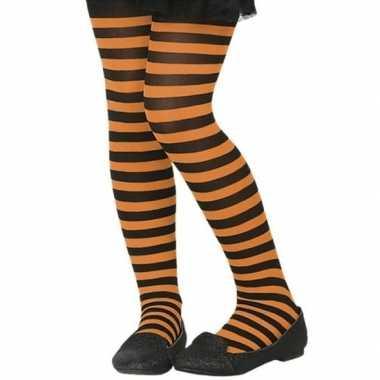 Carnavalskleding verkleed panty zwart oranje kinderen helmond