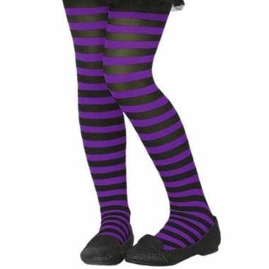 Carnavalskleding verkleed panty zwart paars kinderen helmond