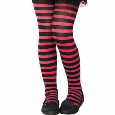 Carnavalskleding verkleed panty zwart roze kinderen helmond