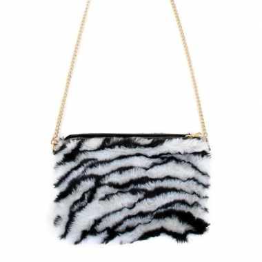 Carnavalskleding verkleedaccessoire tasje zebra print dames helmond