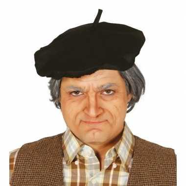 Carnavalskleding verkleedaccessoire zwart frans baretje volwassenen helmond
