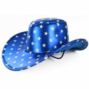 Carnavalskleding verkleedaccessoires blauwe cowboyhoed sterren helmon