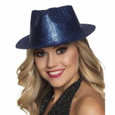 Carnavalskleding verkleedaccessoires blauwe trilby hoed glitters helm