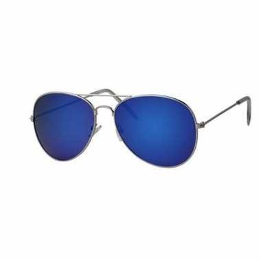 Carnavalskleding verkleedaccessoires pilotenbril blauwe glazen helmon