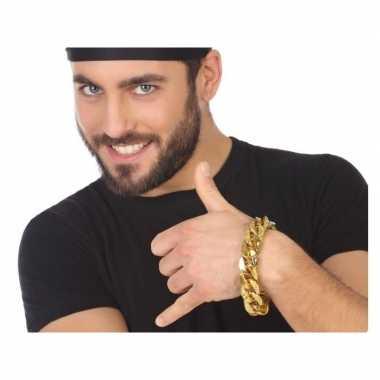 Carnavalskleding verkleedaccessoires schakelarmband goud volwassenen