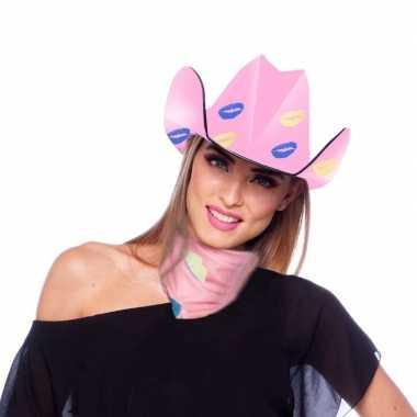 Carnavalskleding verkleedaccessoires sjaaltje/bandana roze kusjes dam