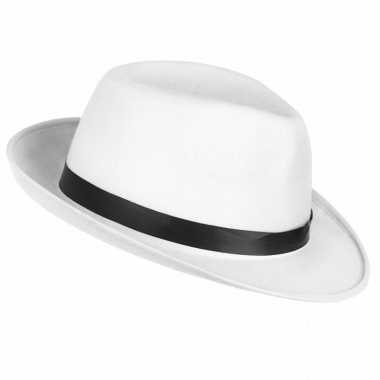 Carnavalskleding verkleedaccessoires witte maffia hoed helmond