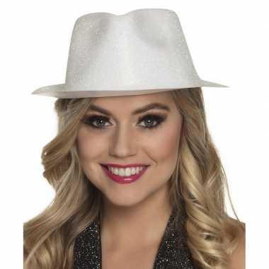 Carnavalskleding verkleedaccessoires witte trilby hoed glitters helmo