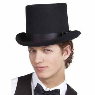 Carnavalskleding verkleedaccessoires zwarte hoge hoed helmond