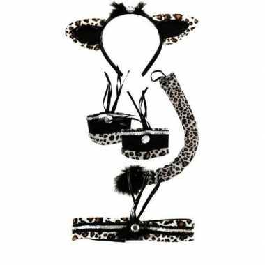 Carnavalskleding verkleedsetje kat/poes luipaard print kinderen helmo