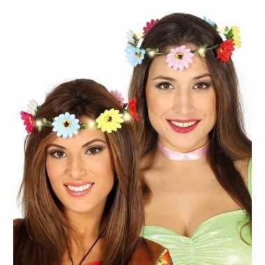 Carnavalskleding verlichte flower power verkleed bloemen krans helmon
