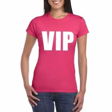 Carnavalskleding vip tekst t-shirt roze dames helmond