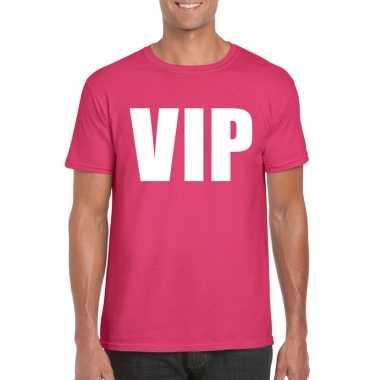 Carnavalskleding vip tekst t-shirt roze heren helmond