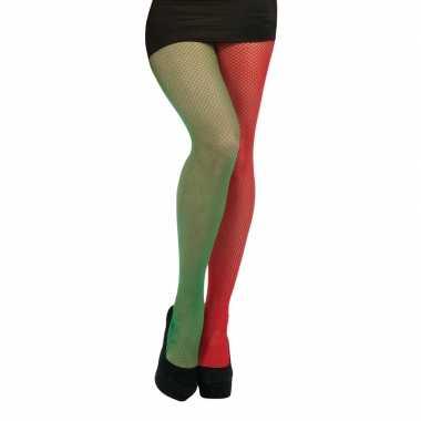 Carnavalskleding visnet panty rood groen one size helmond