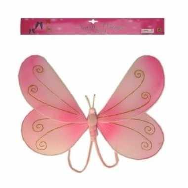 Carnavalskleding vlinder accessoires vleugeltjes roze helmond