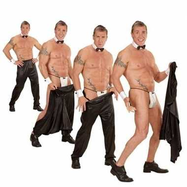 Carnavalskleding vrijgezellenfeest strippersbroek zwart helmond