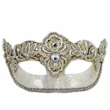 Carnavalskleding wandversiering zilver oogmasker colombina helmond
