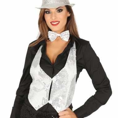 Carnavalskleding wit gilet glitters/pailletten dames helmond