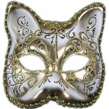 Carnavalskleding wit/gouden venetiaans wit/gouden katten/poezen maske