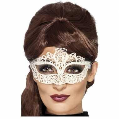 Carnavalskleding wit kanten oogmasker dames helmond