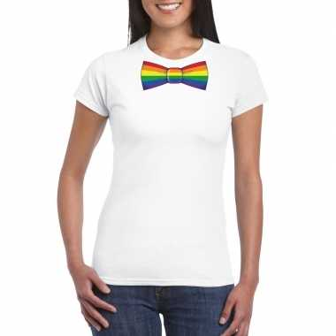 Carnavalskleding wit t shirt regenboog vlag strikje dames helmond