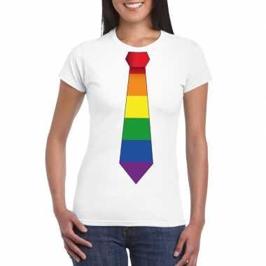 Carnavalskleding wit t shirt regenboog vlag stropdas dames helmond